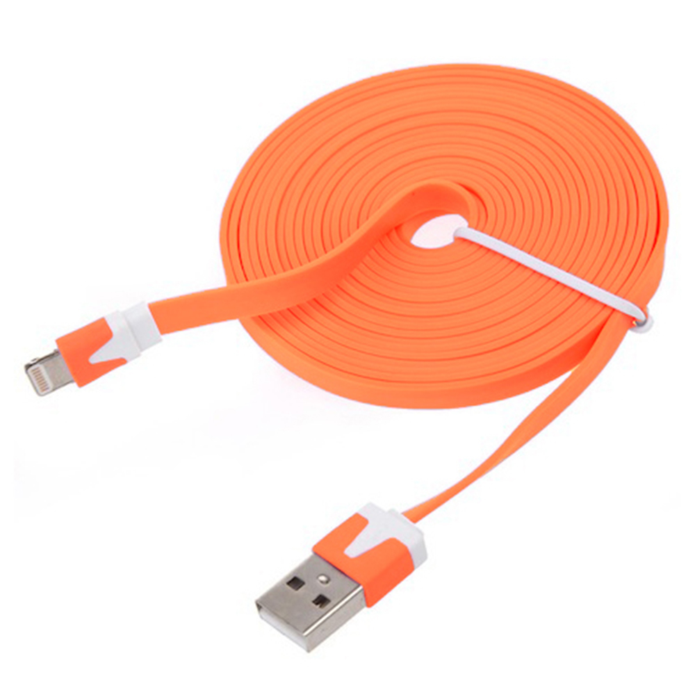 Flat Noodle Cable Data Sync Charger Cord For Iphone 5 5s